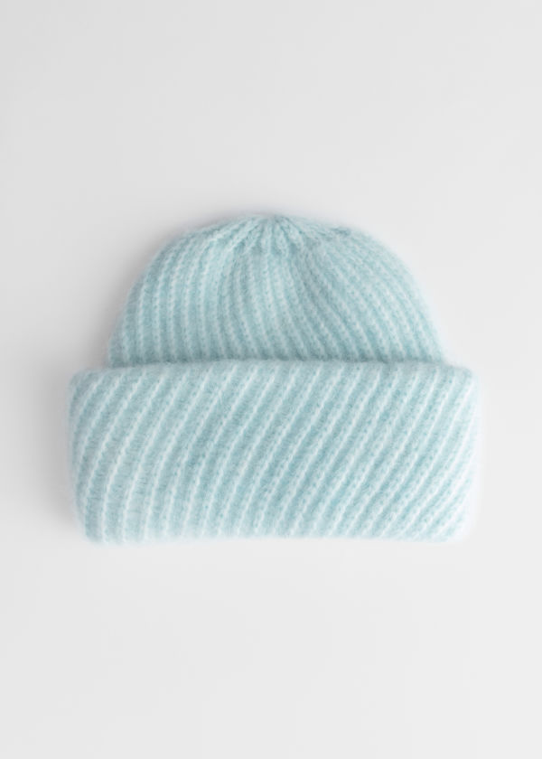 Diagonal Wool Blend Knit Beanie