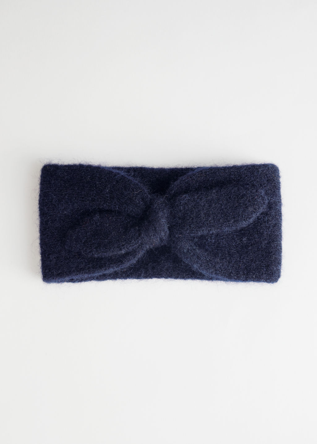 Front image of Stories wool blend knit headband in blue