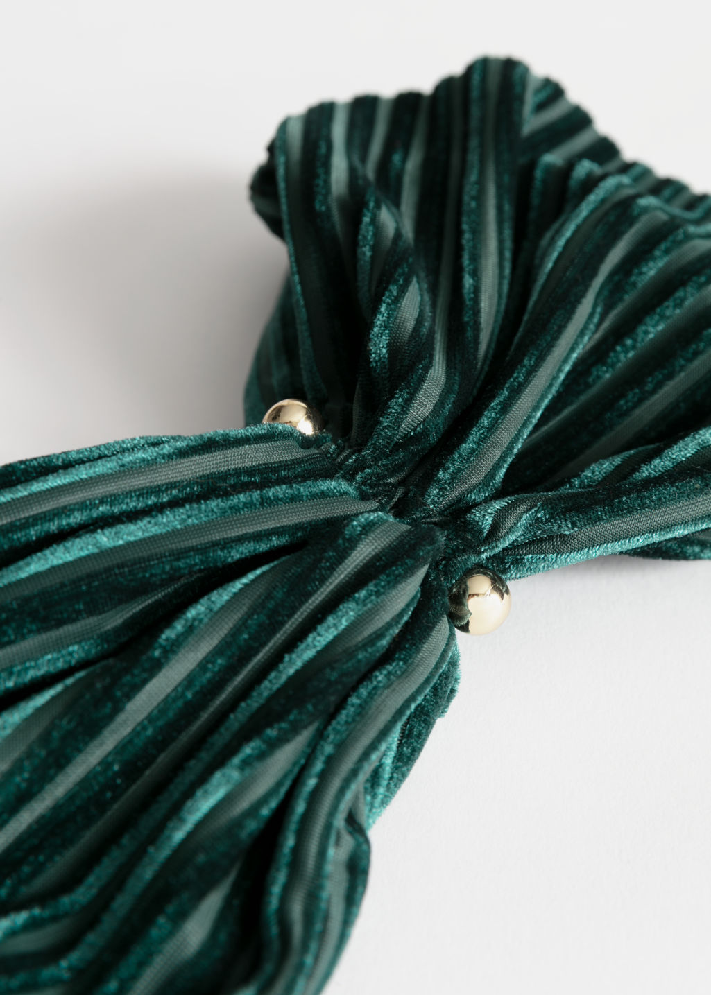 Back image of Stories velvet stripe hairband in green