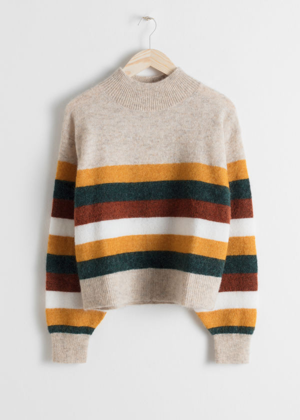 Front image of Stories striped wool blend sweater in beige