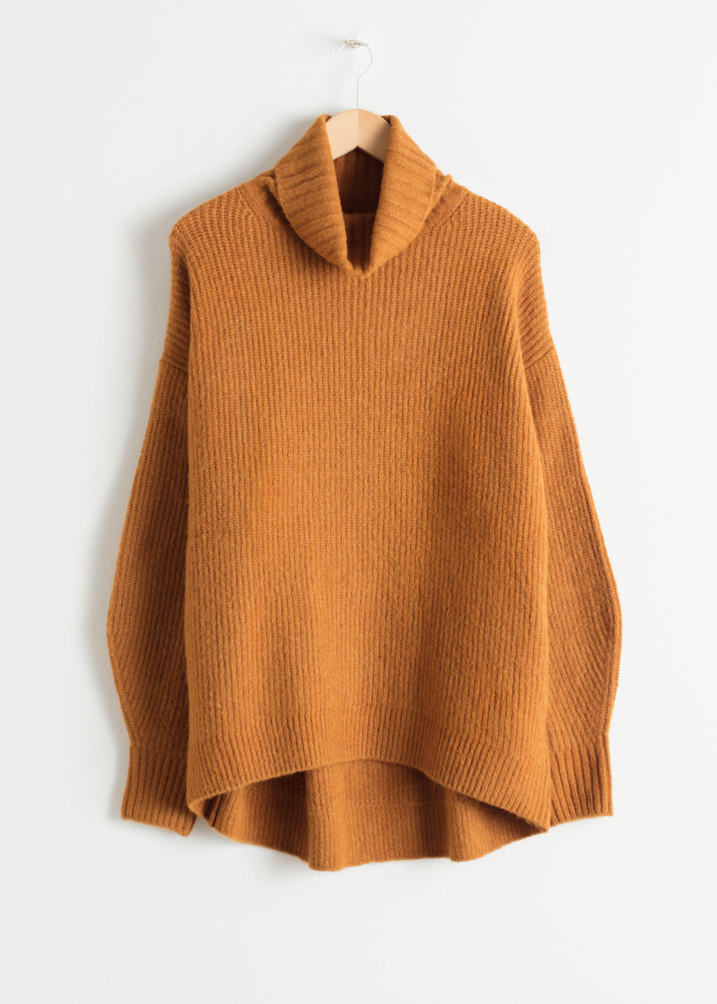 Front image of Stories oversized turtleneck sweater in yellow