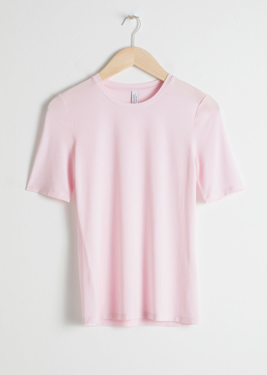 Front image of Stories fitted basic t-shirt in pink