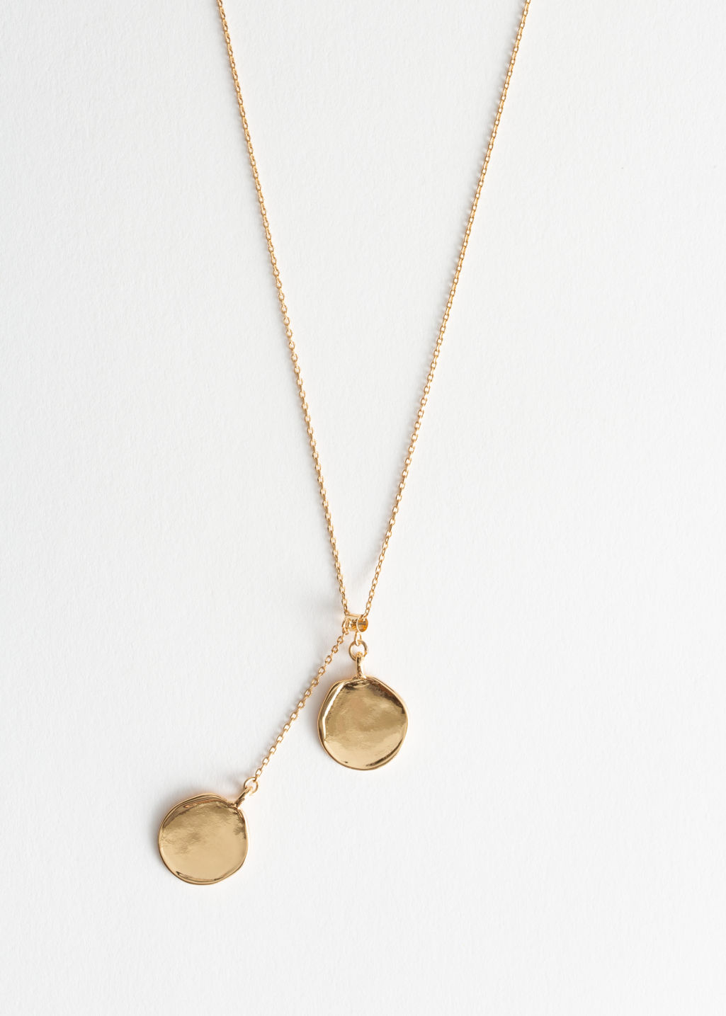 Front image of Stories duo circle charm necklace in gold