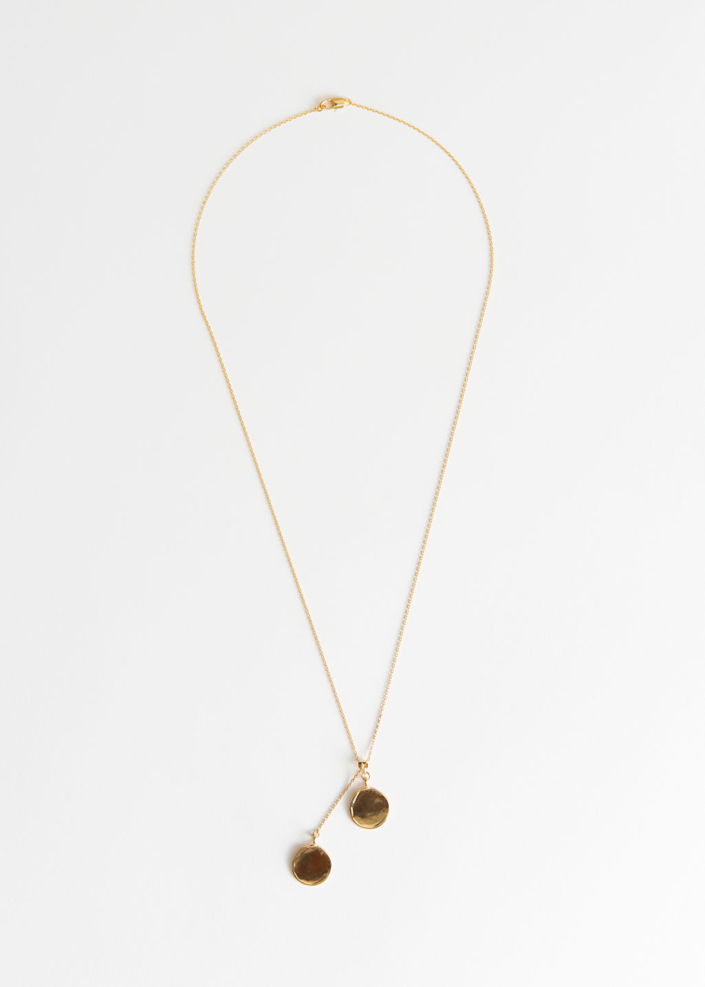 Back image of Stories duo circle charm necklace in gold