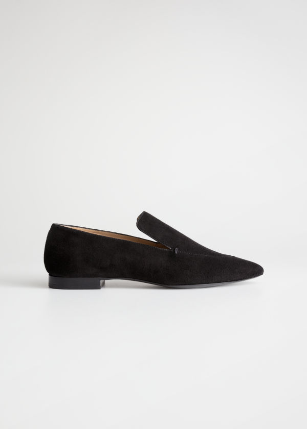 Front image of Stories pointed leather loafers in black