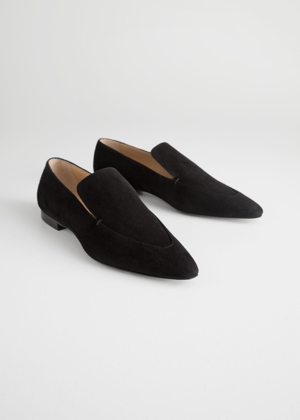 Back image of Stories pointed leather loafers in black
