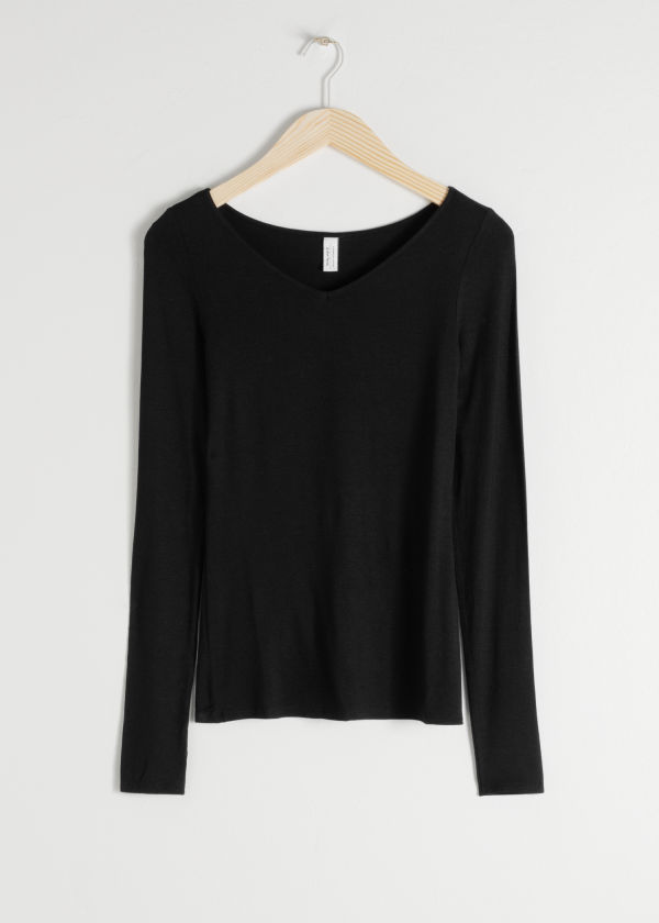 V-Cut Stretch Long Sleeve Tee