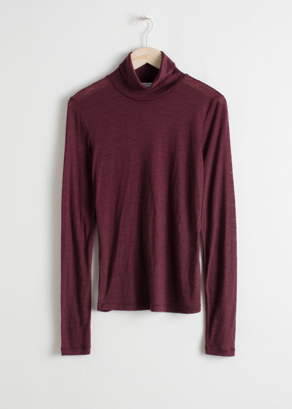 Front image of Stories thin wool knit turtleneck in red