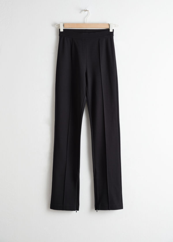Stretch Zipper Slit Trousers