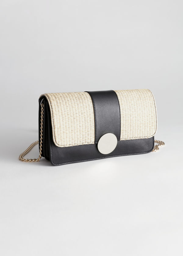 Leather Straw Crossbody Bag