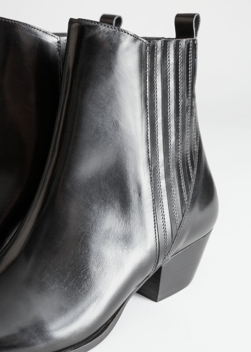 Back image of Stories low leather cowboy boots in black
