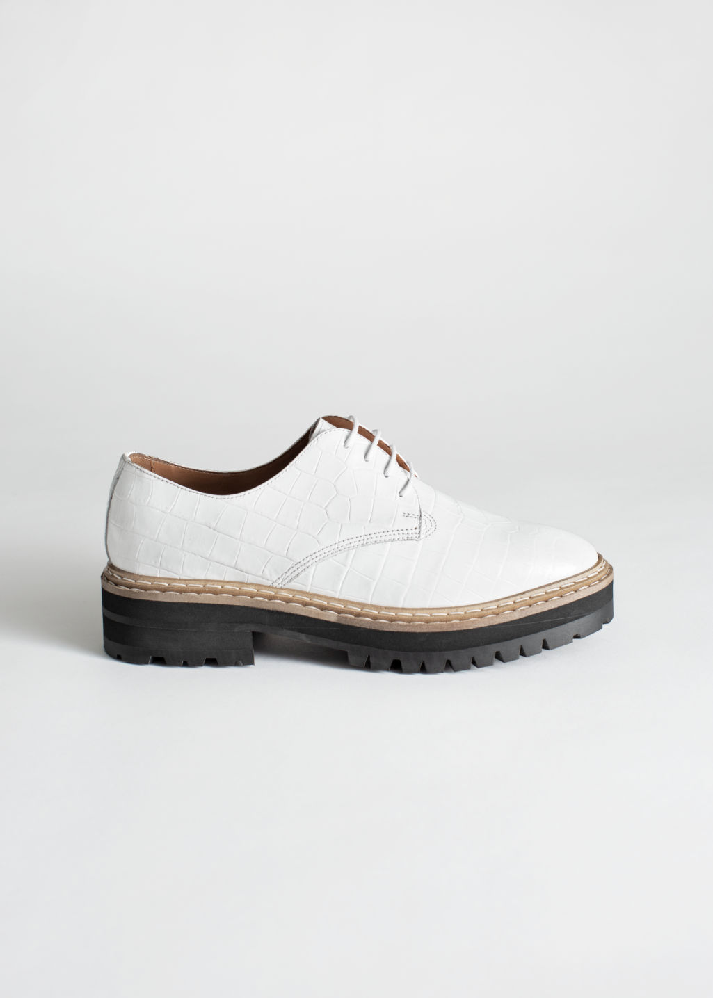 Back image of Stories platform leather croc oxfords in white