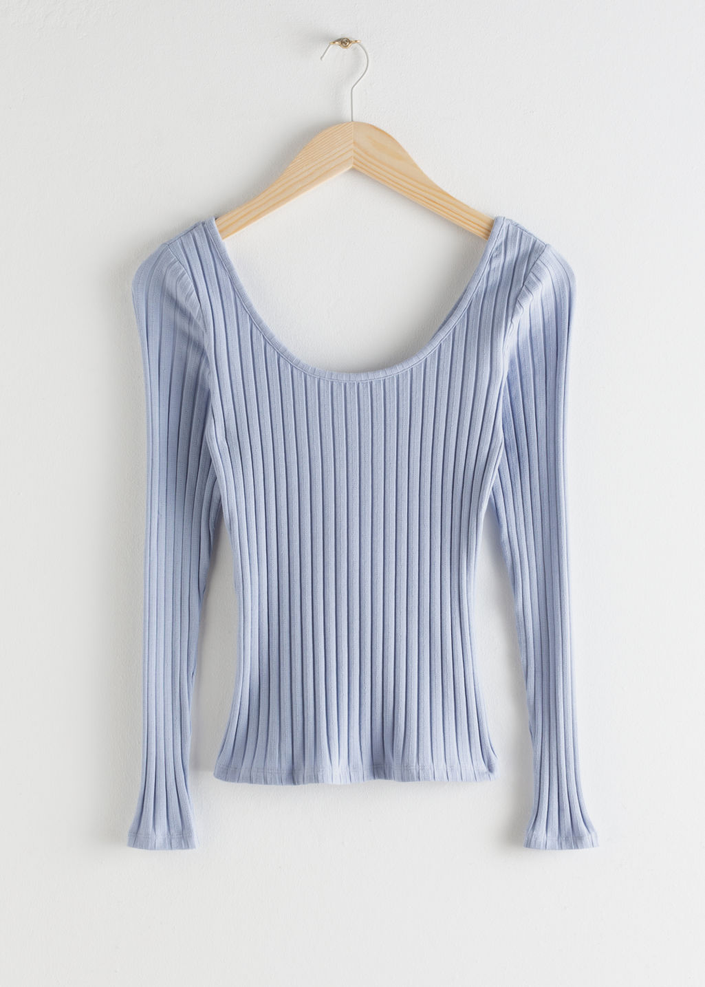 Front image of Stories fitted scoop neck cotton top in blue