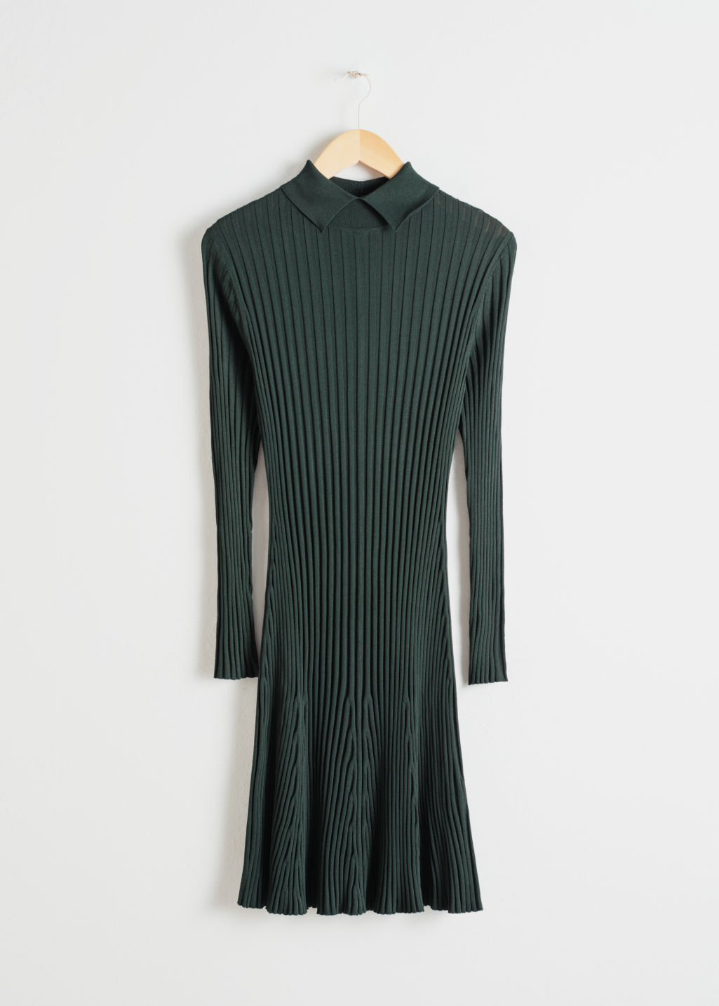 Front image of Stories rib knit dress in green