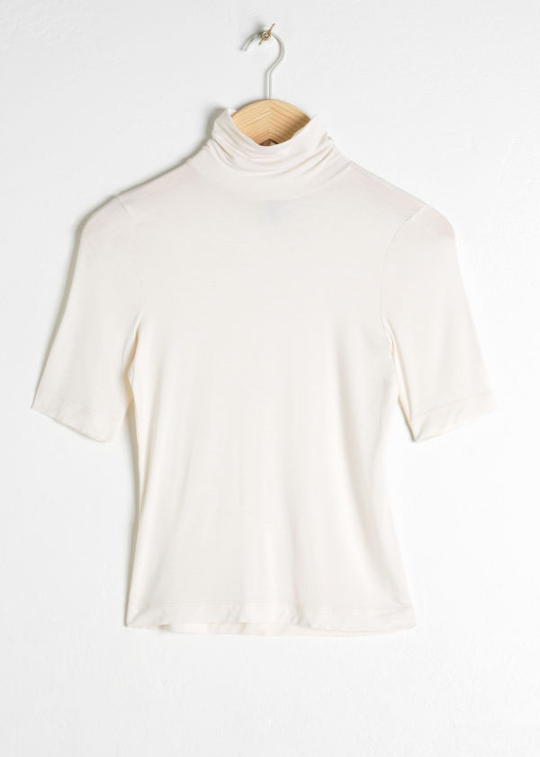 Front image of Stories short sleeve turtleneck in white