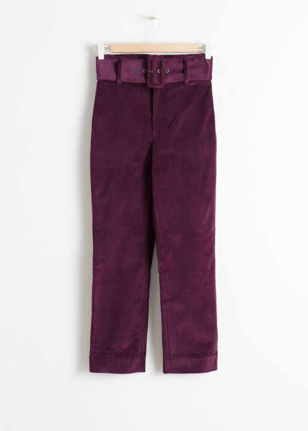 Belted Slim Corduroy Trousers