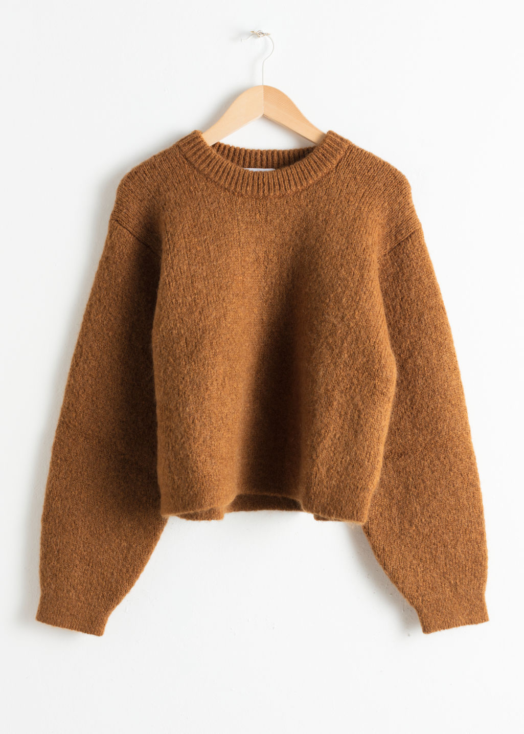 Front image of Stories chunky jacquard knit sweater in beige