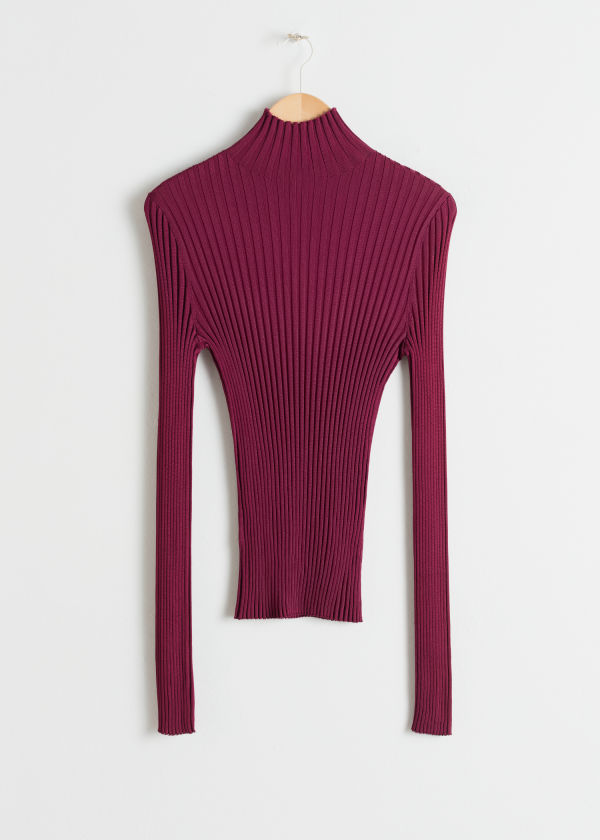 Fitted Rib Knit Turtleneck