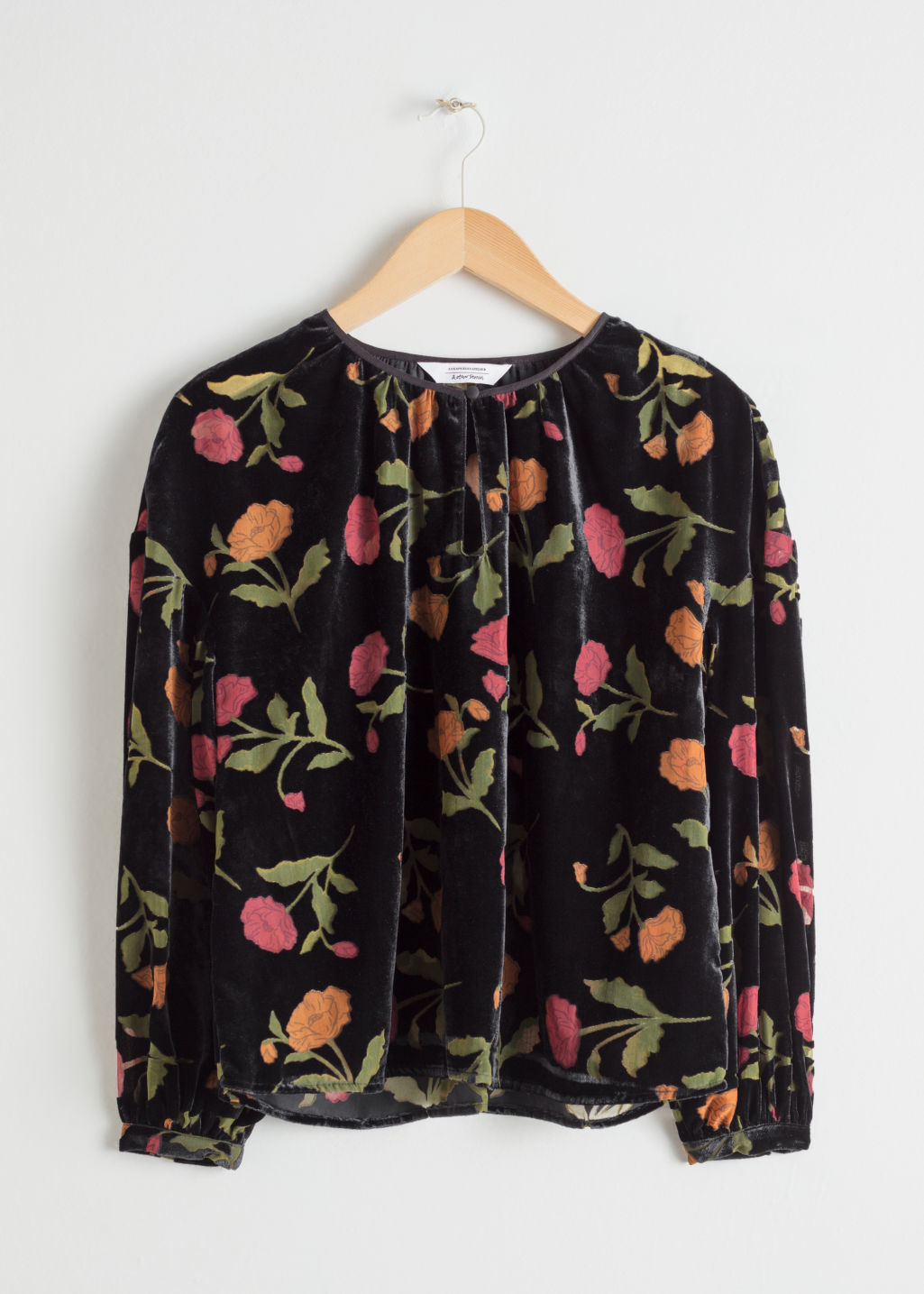 Front image of Stories floral velvet blouse in black