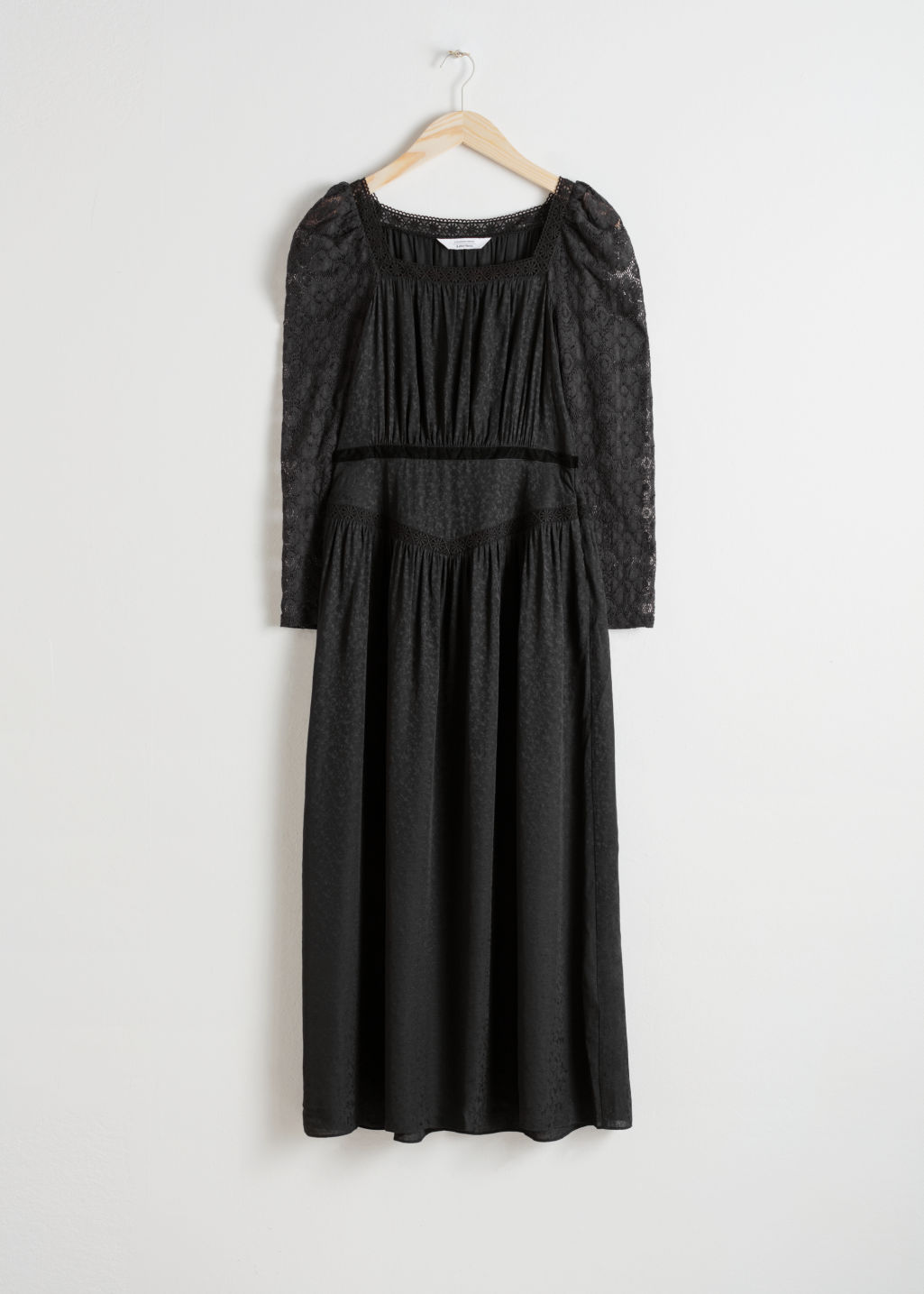 Front image of Stories lace trim midi dress in black