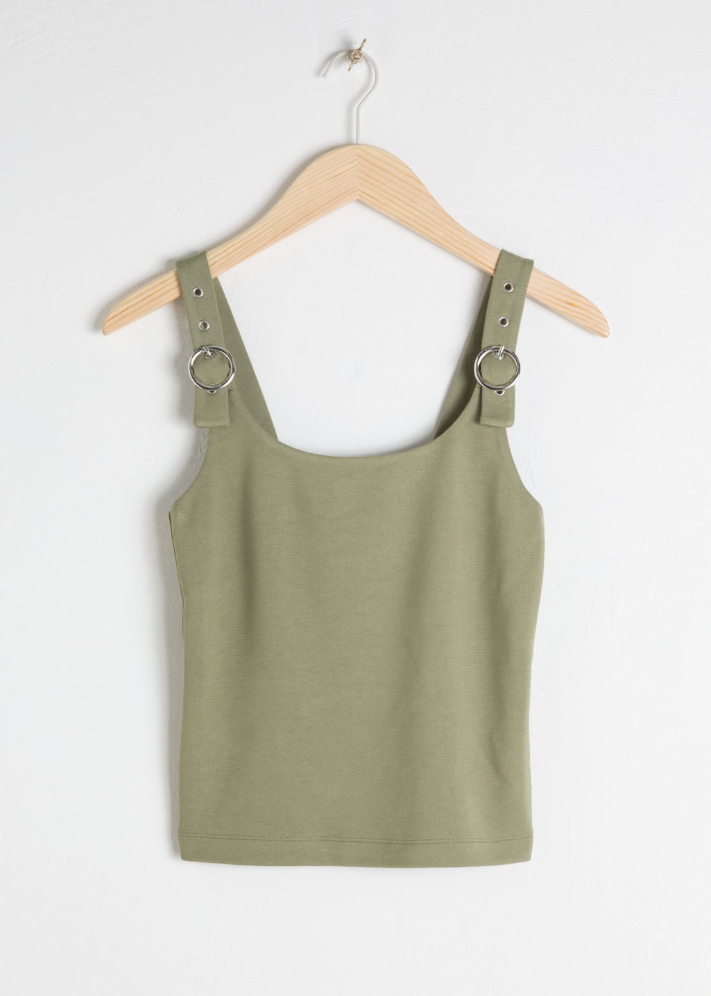 Front image of Stories buckle strap tank top in green