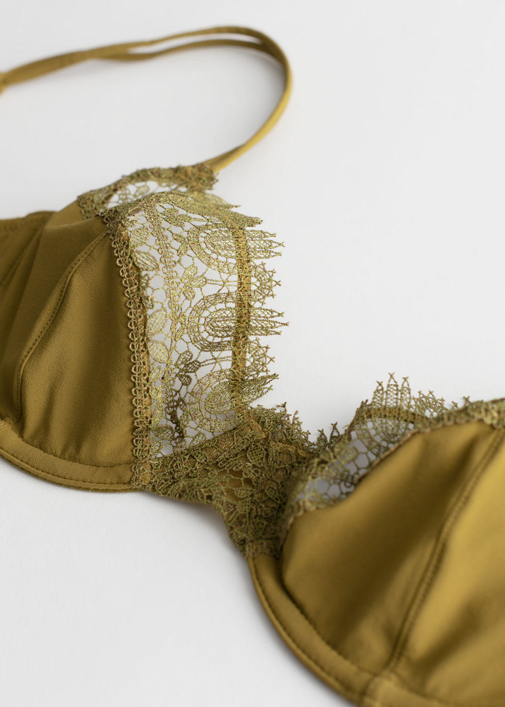 Back image of Stories eyelash lace underwire bra in yellow