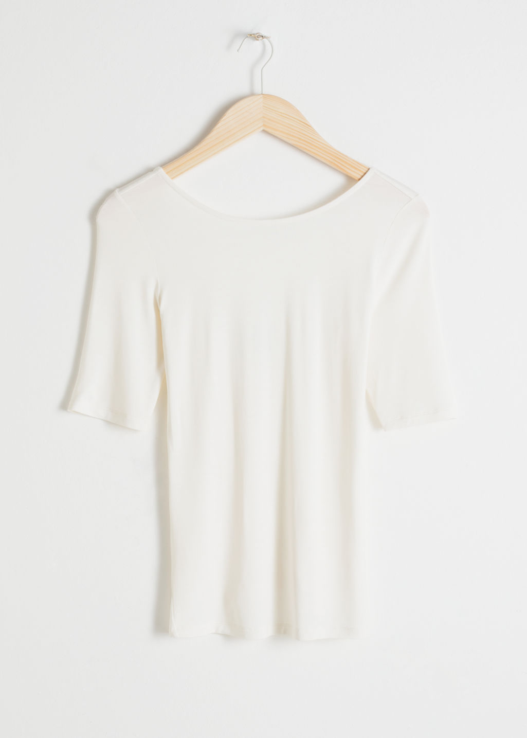 Front image of Stories fitted boatneck top  in white