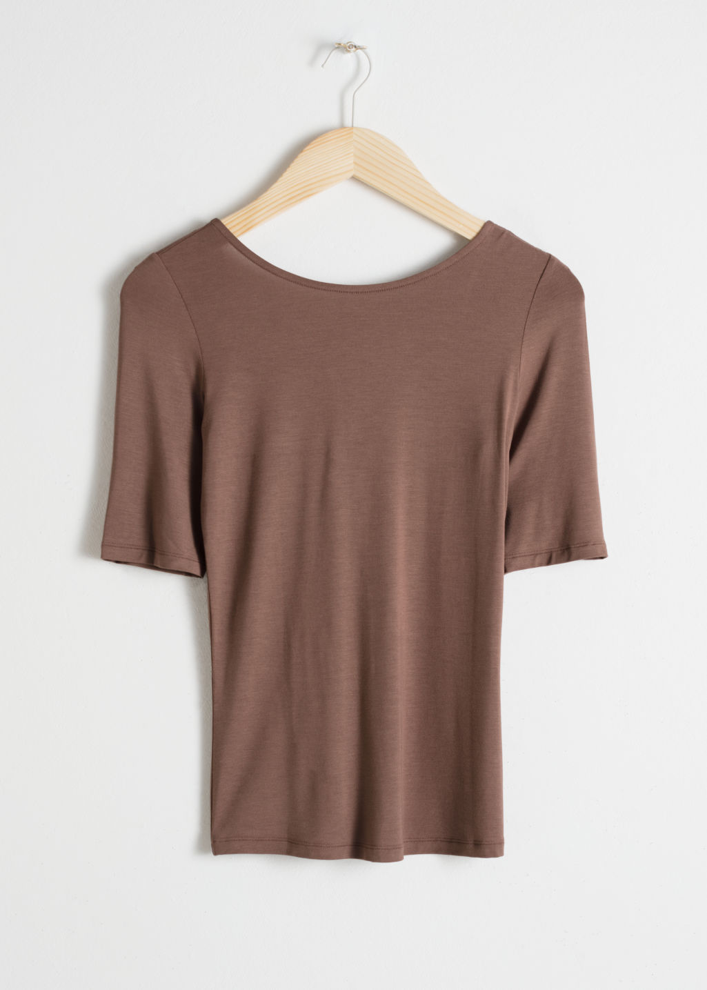 Front image of Stories fitted boatneck top  in beige