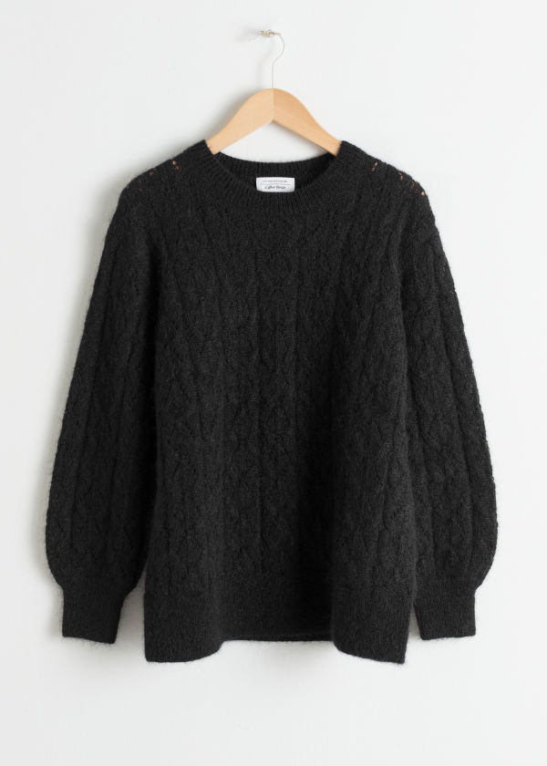 Oversized Eyelet Knit Sweater