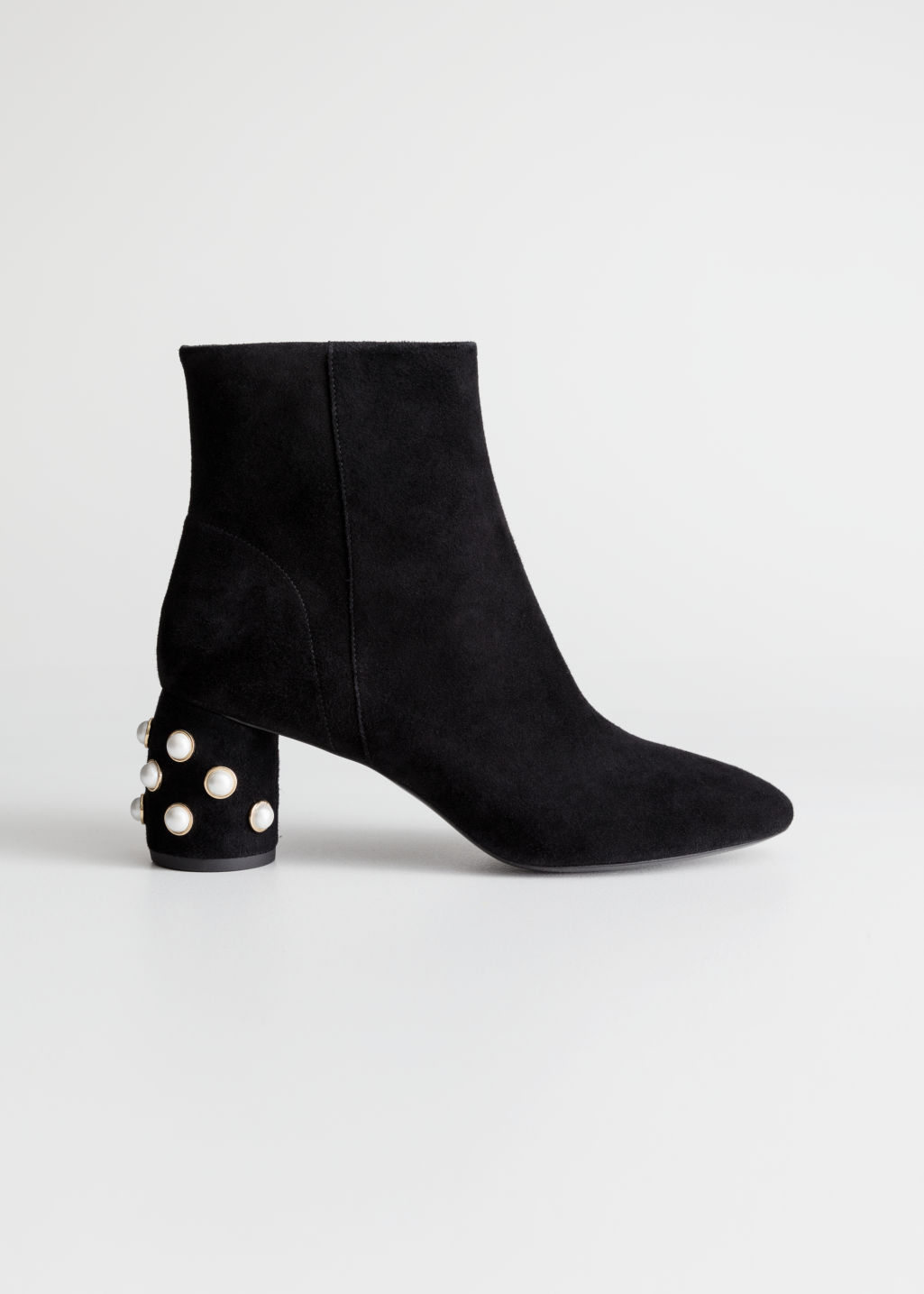 Suede Pearl Stud Ankle Boots