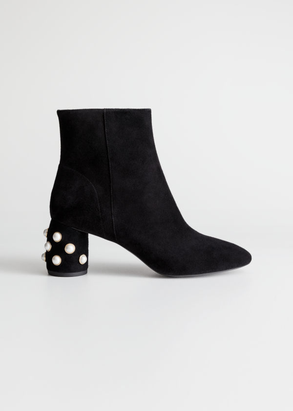 Front image of Stories suede pearl stud ankle boots in black