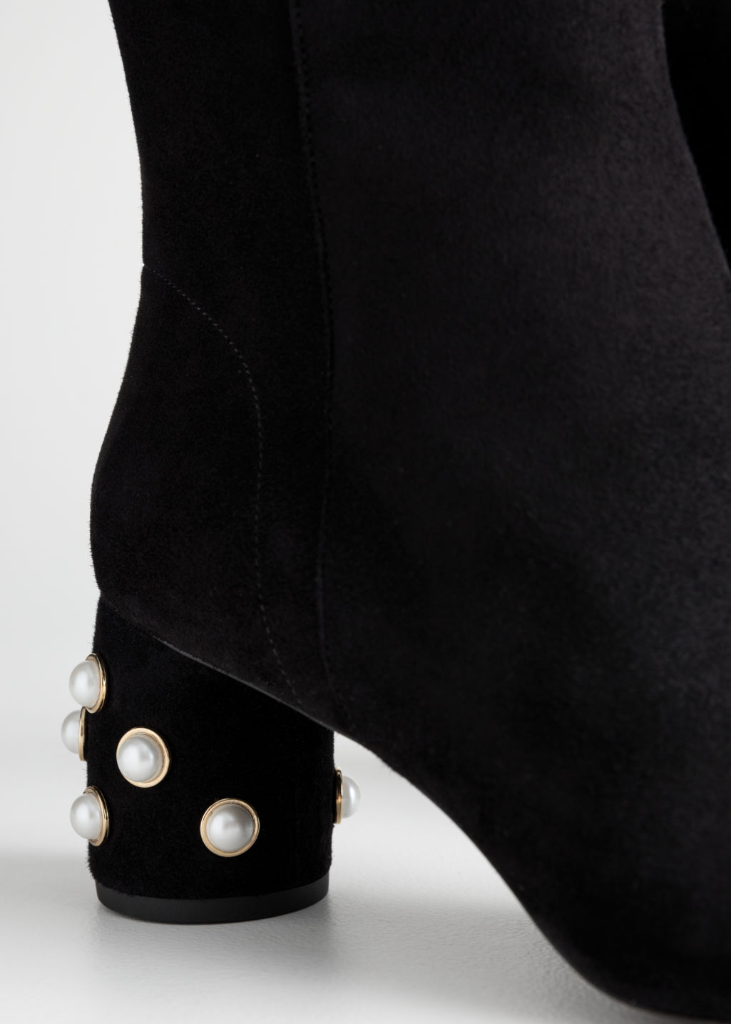 Back image of Stories suede pearl stud ankle boots in black