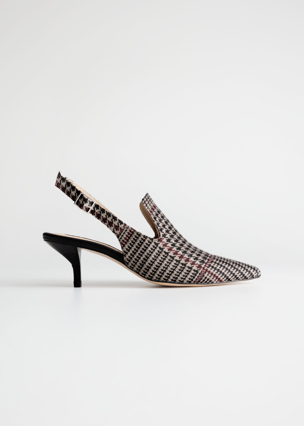 Front image of Stories houndstooth slingback kitten heels in brown