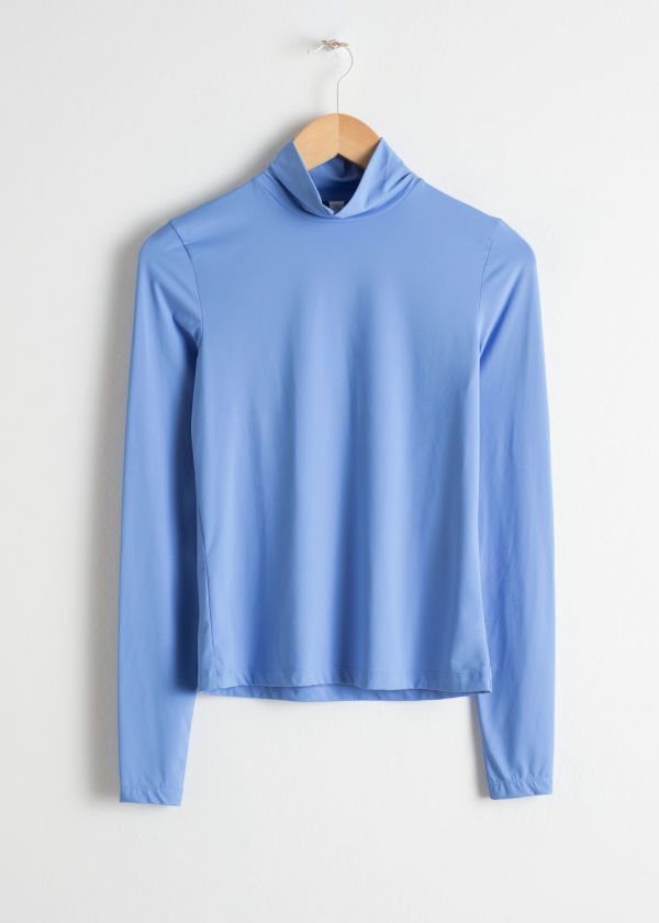 Front image of Stories fitted stretch turtleneck in blue