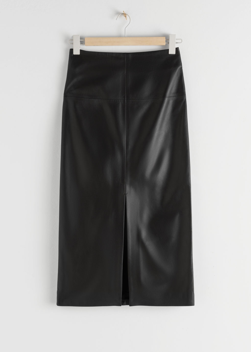 StillLife Front Image of Stories Front Slit Leather Midi Skirt in Black