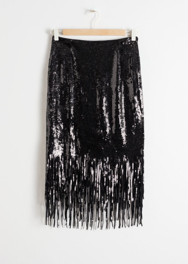 Sequin Fringe Pencil Skirt