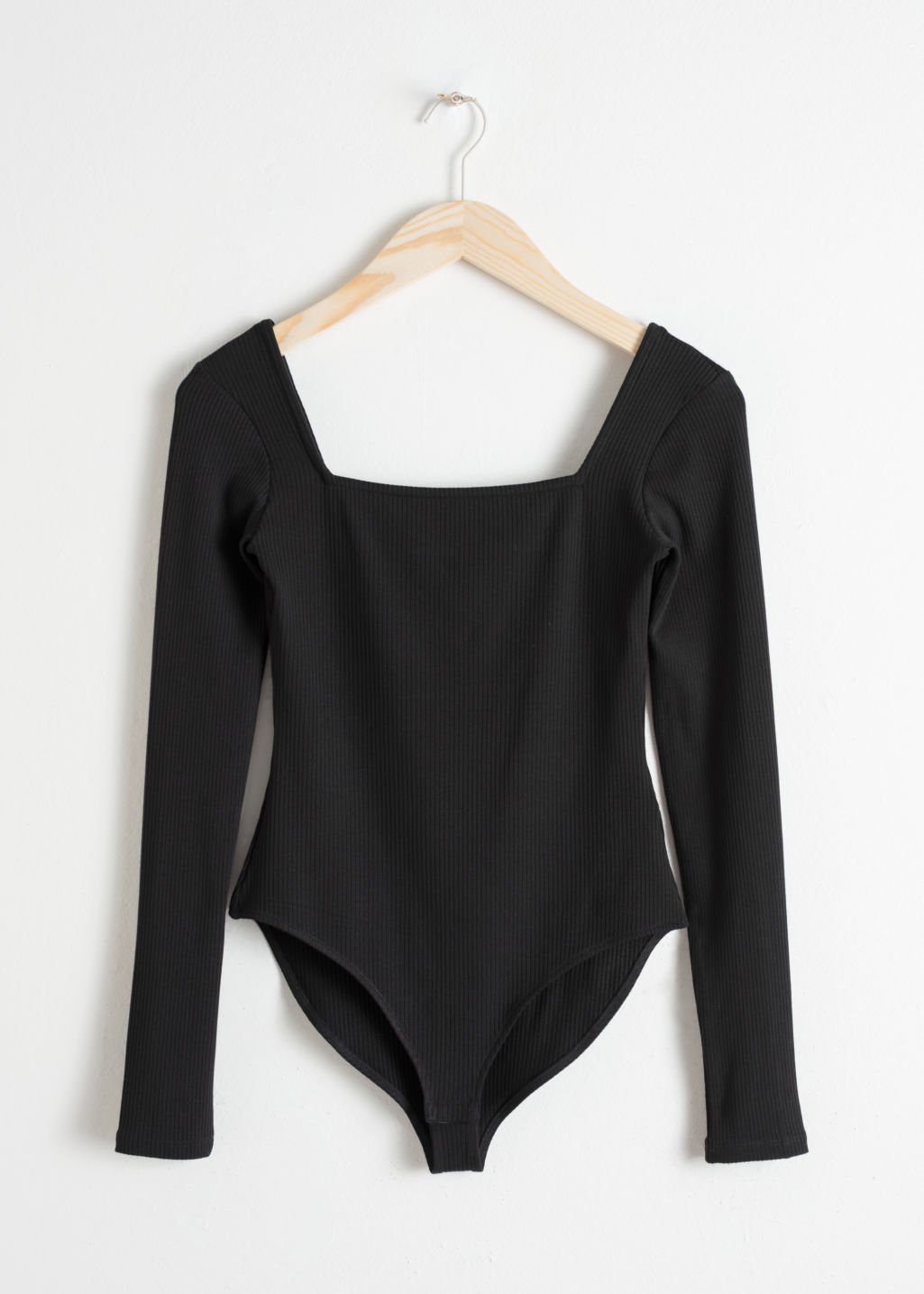 Front image of Stories square neck bodysuit in black