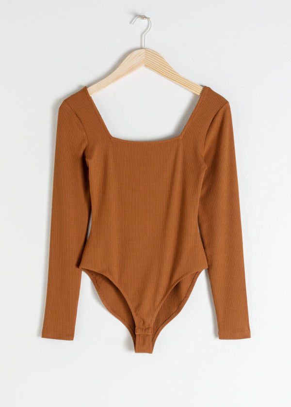 Front image of Stories square neck bodysuit in beige