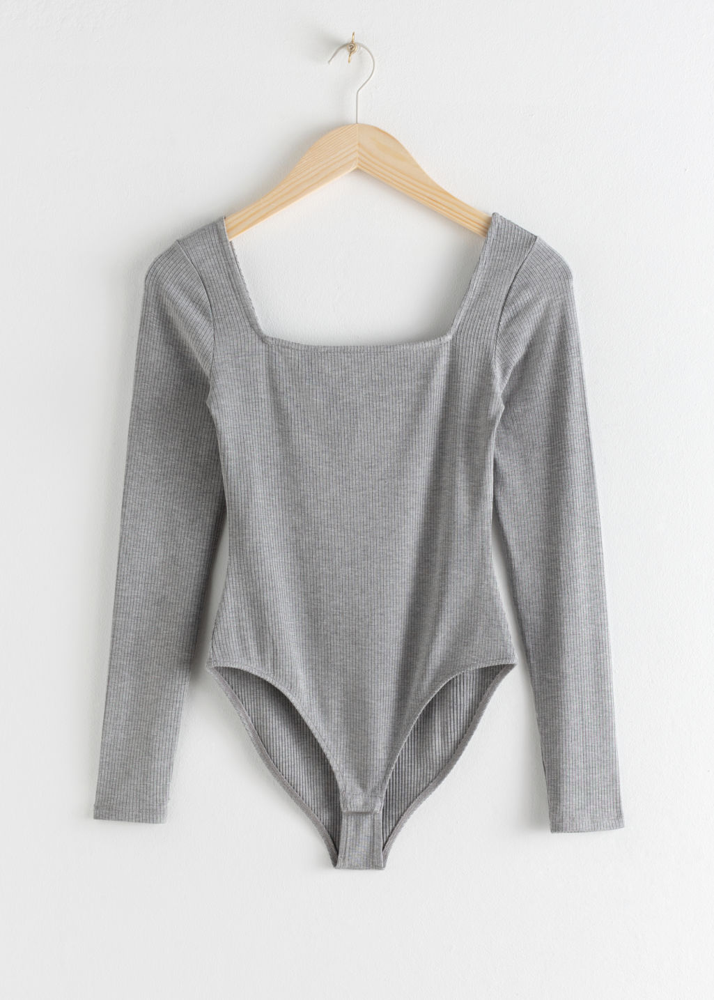 Front image of Stories square neck bodysuit in brown