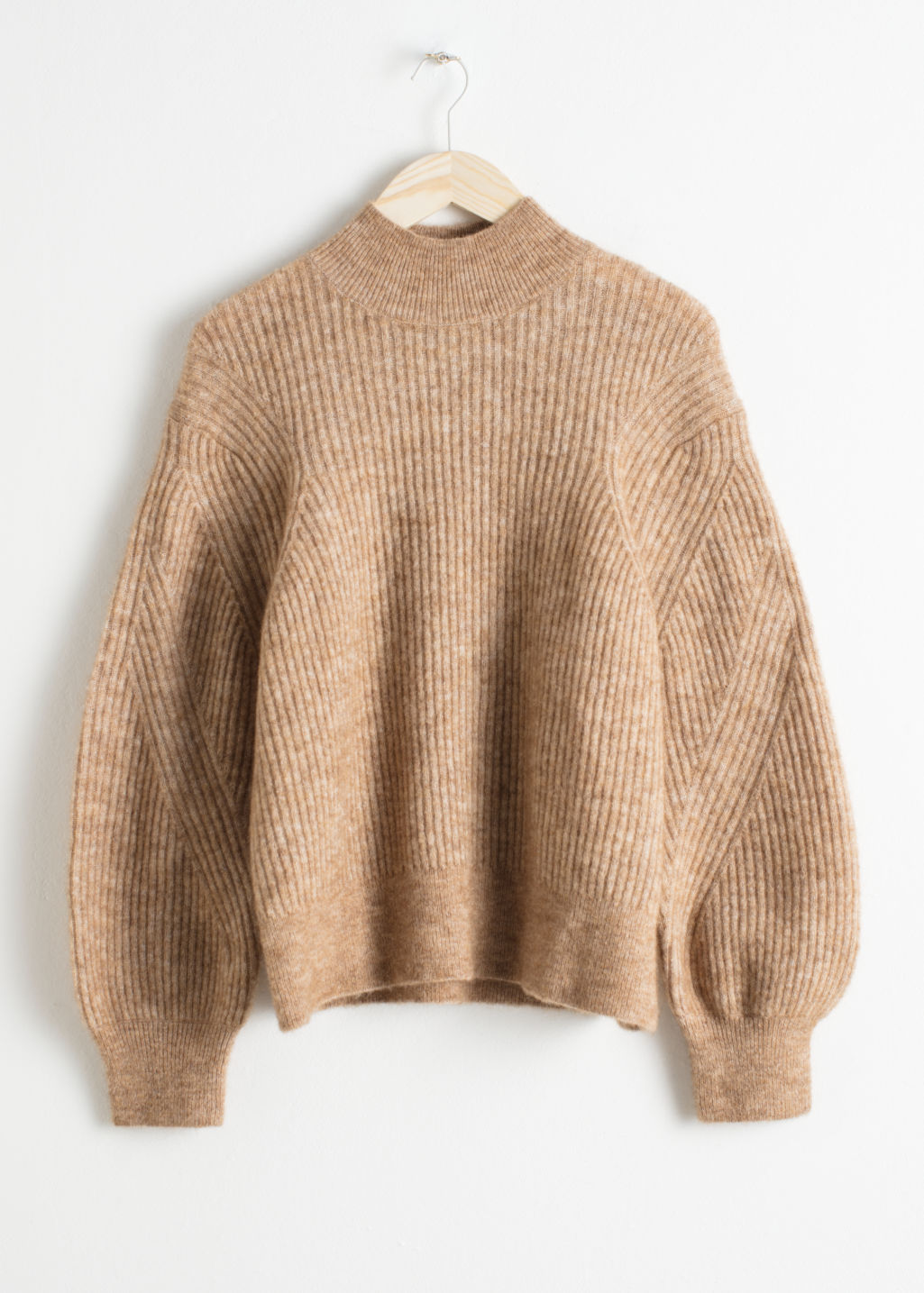 Front image of Stories wool blend cable knit sweater in beige