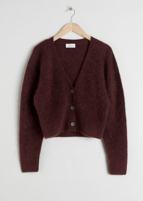 Front image of Stories wool blend cardigan in brown