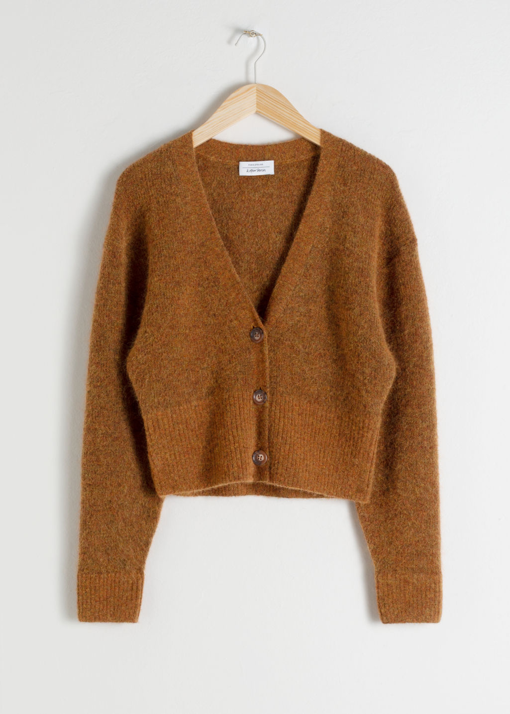 Front image of Stories wool blend cardigan in orange