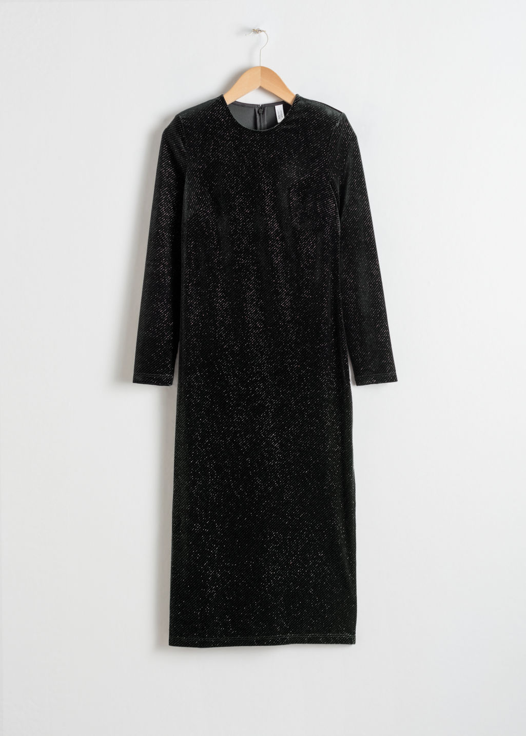 Front image of Stories long sleeve velvet midi dress in black