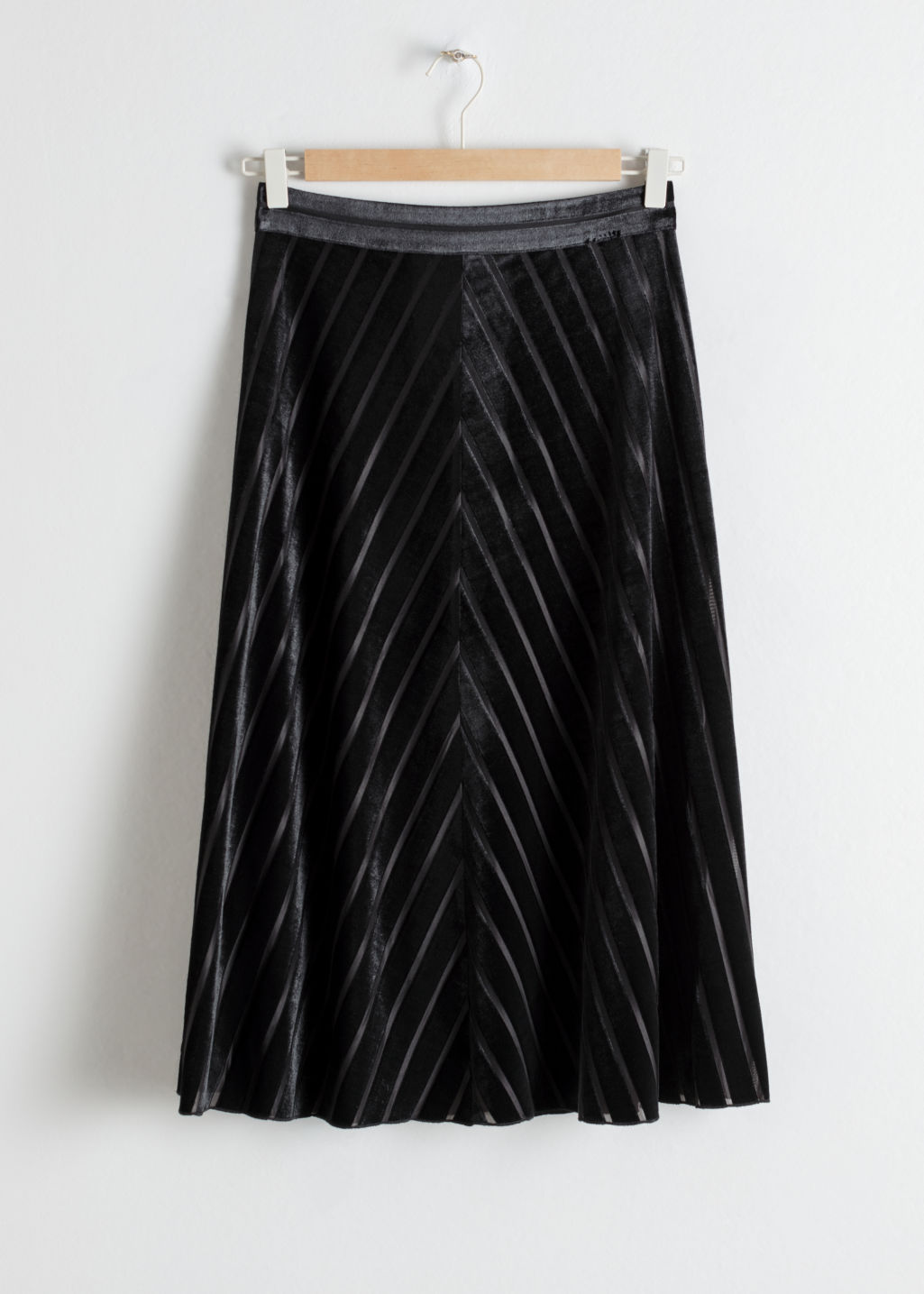 Front image of Stories velvet chevron a-line skirt in black