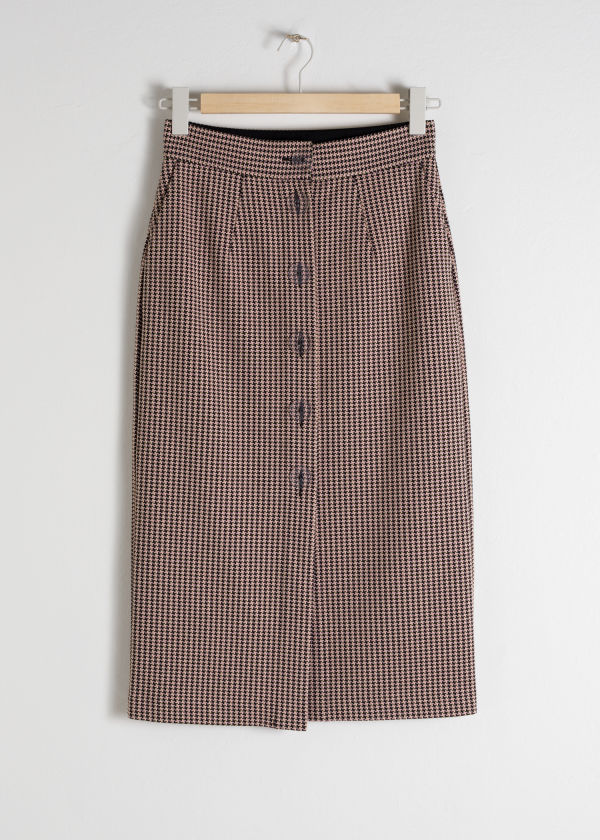 Houndstooth Button Up Pencil Skirt
