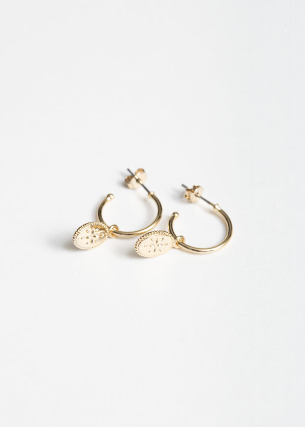 Oval Charm Hoop Earrings