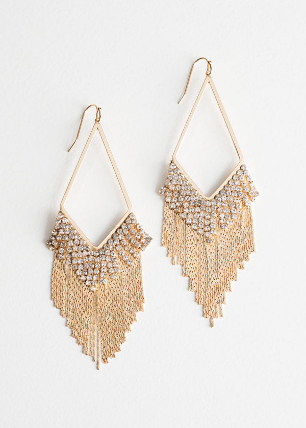 Rhinestone Fringe Hanging Earrings