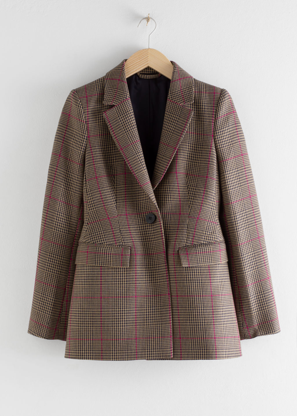 Front image of Stories hourglass houndstooth blazer in beige