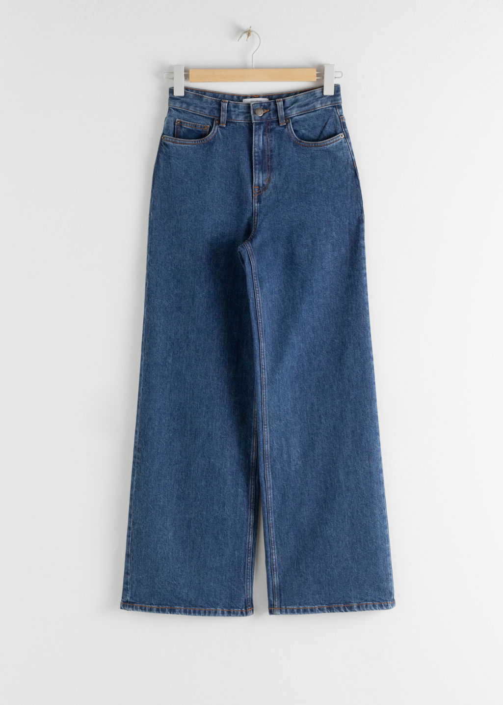 Front image of Stories high rise culotte jeans in blue