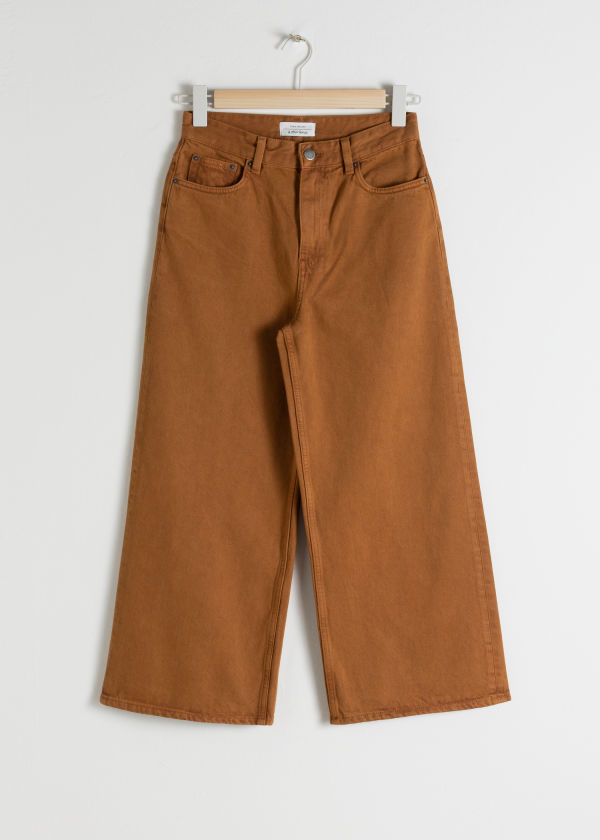 Front image of Stories high rise culotte jeans in orange